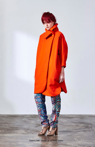 FW Caroline Coat Orange Wool