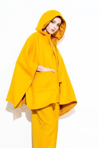*F17 YELLOW PONCHO COAT