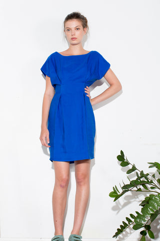** BLUE PLEAT DRESS