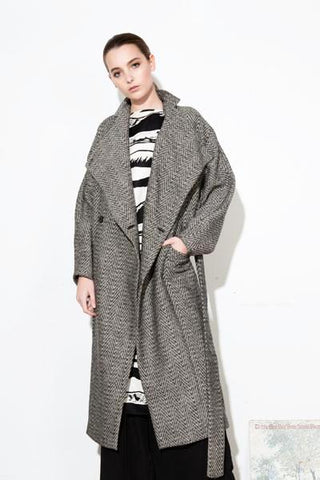 *F17 IRIS LONG COAT TWEED