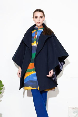 *F17 BATWING COAT NAVY