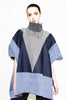 BLUE DENIM BLOCK PONCHO