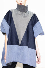 * BLUE DENIM BLOCK PONCHO