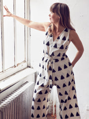 NAVY IKAT JUMPSUIT