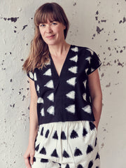 BLACK IKAT LOVE TOP