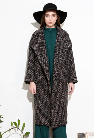 *F17 BLACK TWEED KATE LONG COAT