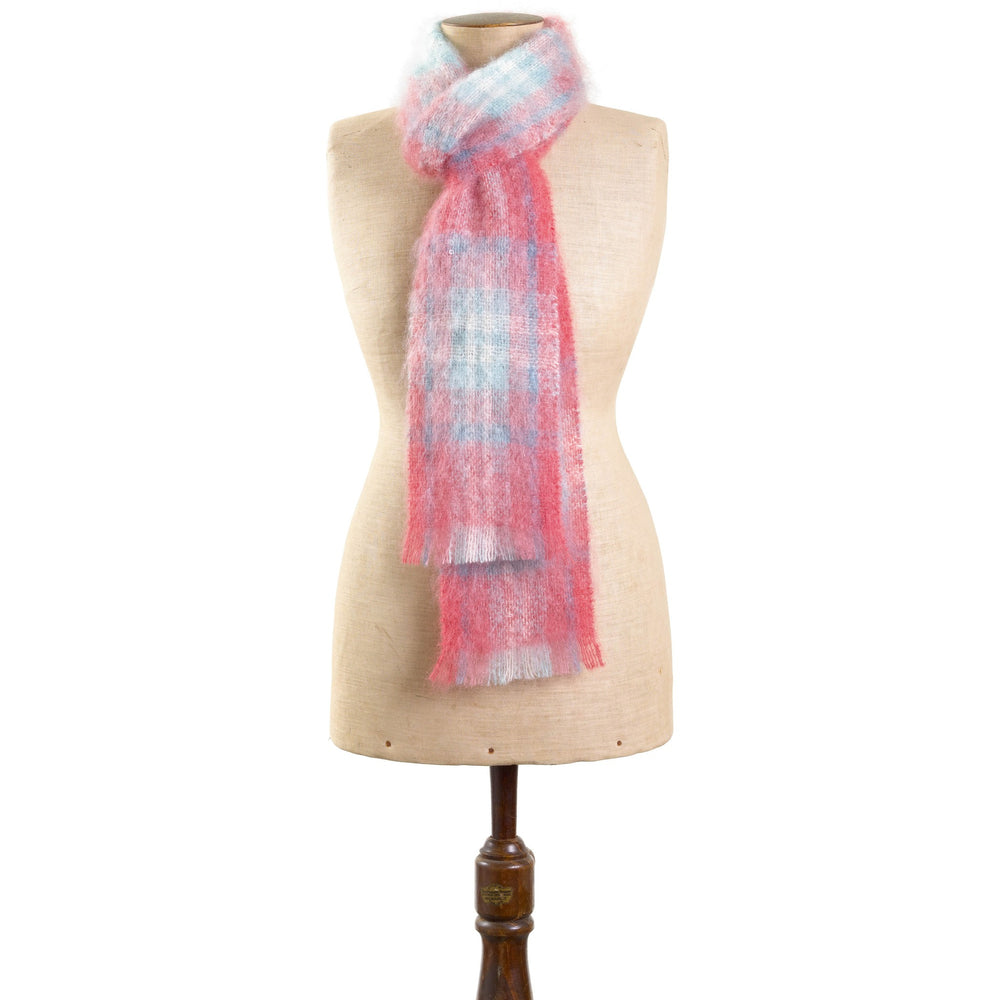 mohair-coral-check-scarf - St Albans