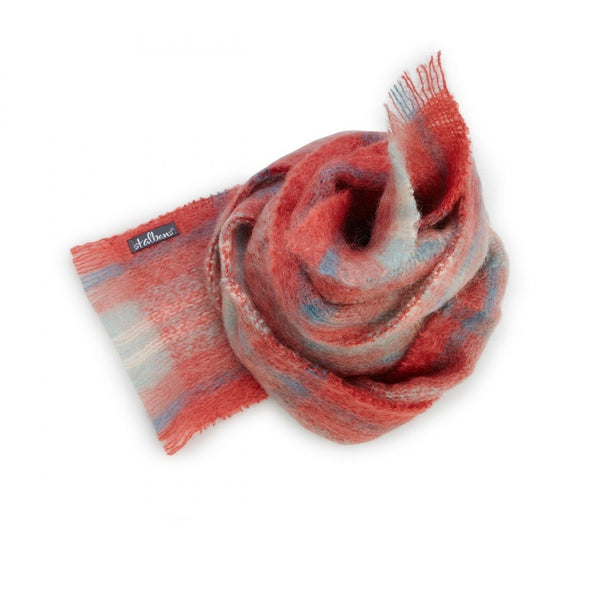 Mohair Coral Check Scarf - St Albans