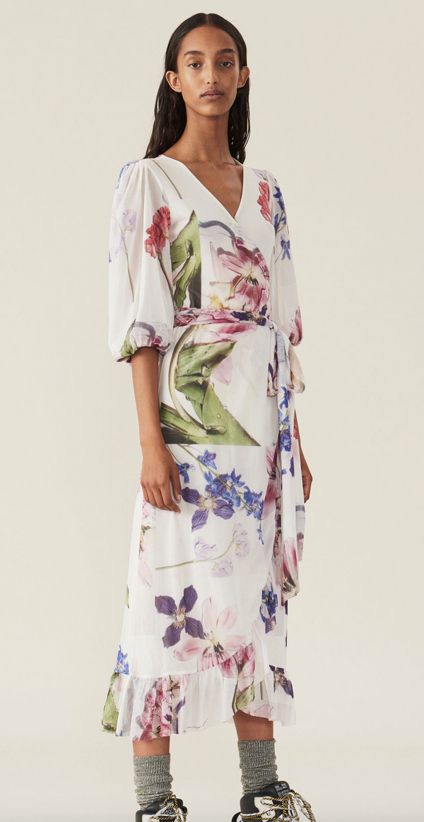 [GANNI] 가니 원피스 (PRINTED MESH WRAP DRESS)