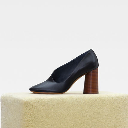 [CELINE] 올드셀린느 라운드토 힐 펌프스 (Round Toe Plain Leather Block Heels Elegant Style)