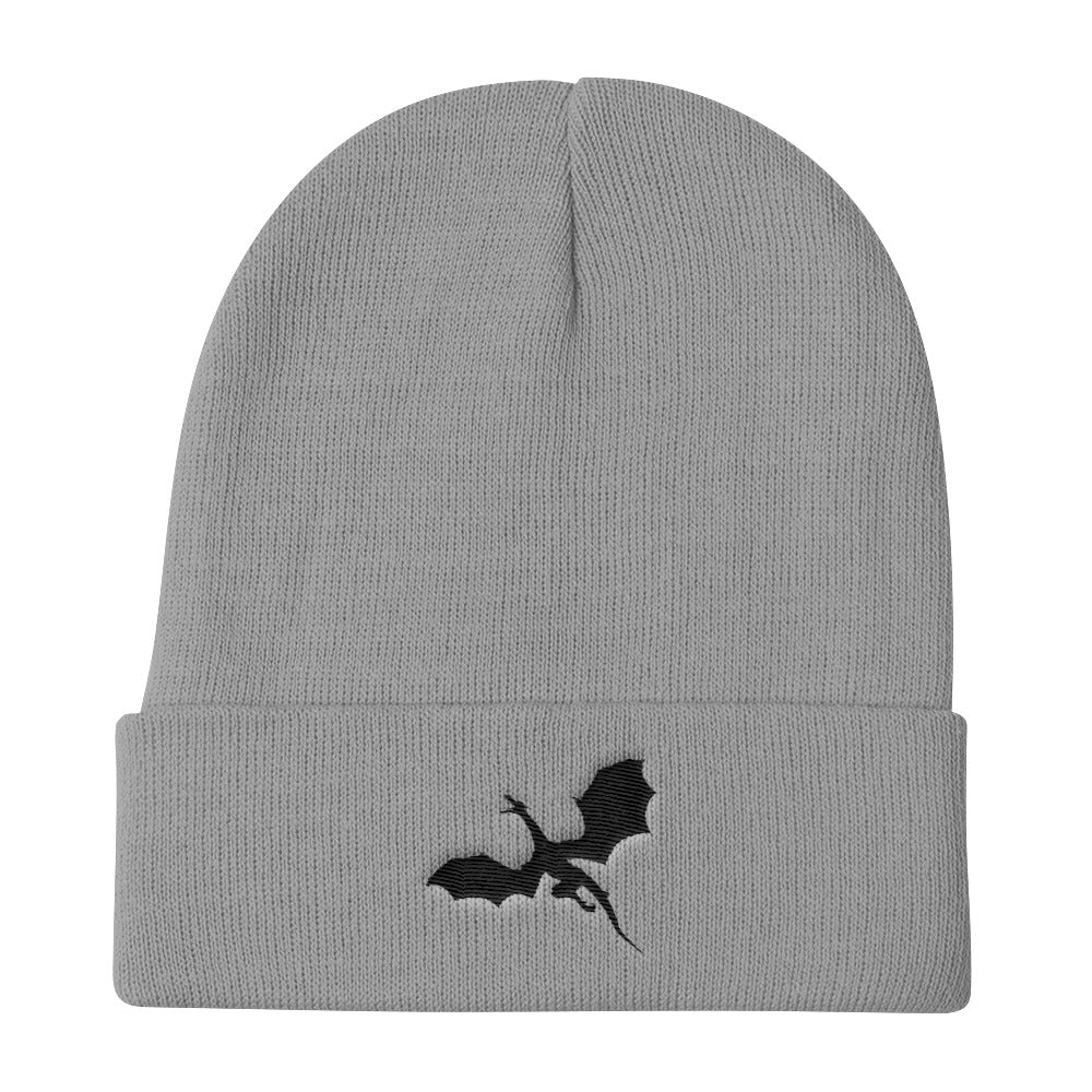 Epic-Black-Flying-Dragon-Beanie-Premium-Knit-Beanie-comfortable-slouchy-beanie-dragon-brotherhood