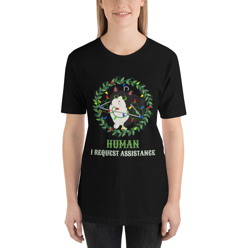 Cat_Requests_Assistance _Short_Sleeve_Unisex_T_Shirt_Christmas_Holiday_tee_Dragon_Brotherhood