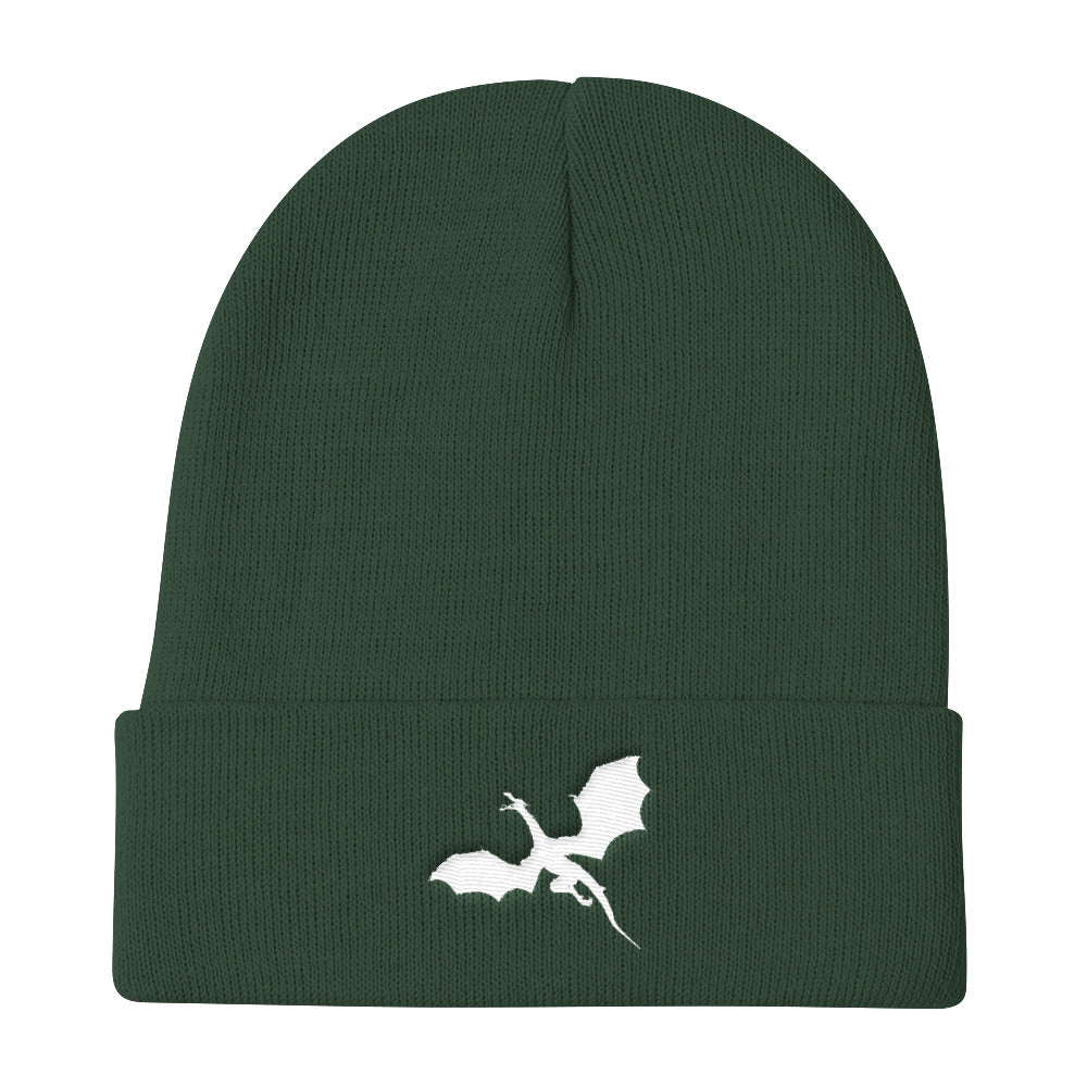 Epic-White-Flying-Dragon-Beanie-Premium-Knit-Beanie-comfortable-slouchy-beanie-dragon-brotherhood