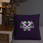 Purple Plaid Double Dragon Premium Pillow