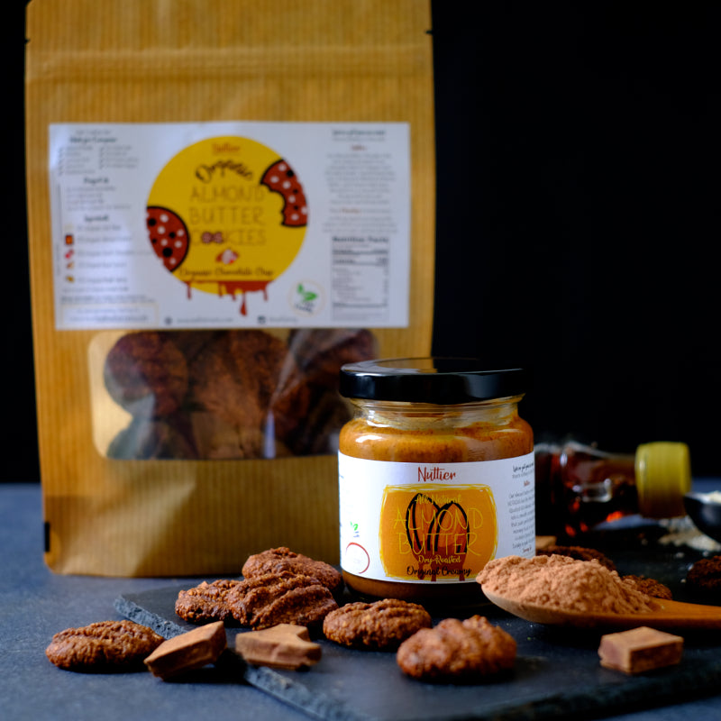 Nuttier Chocolate Lovers Bundle - All Natural Organic Almond Butter and Organic Chocolate Chip Almond Butter Cookies