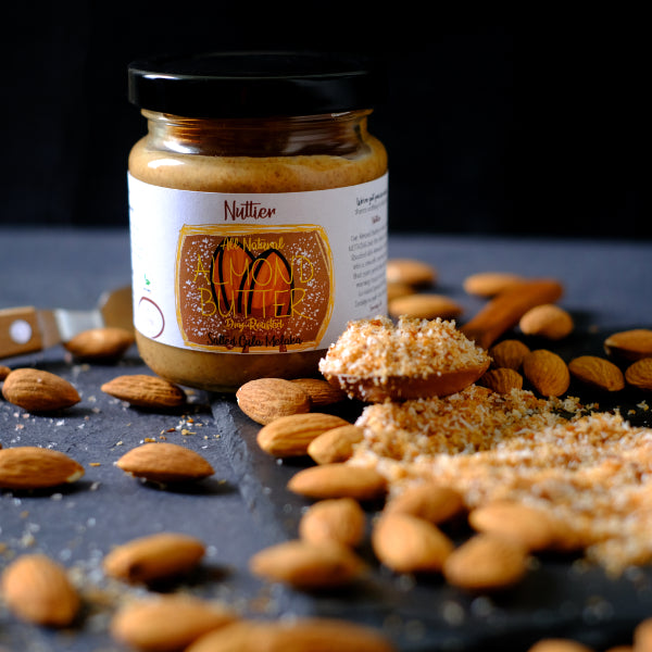 Nuttier All Natural Organic Salted Gula Melaka Almond Butter Crafted In Singapore made with toasted coconut and organic pink Himalayan Sea salt