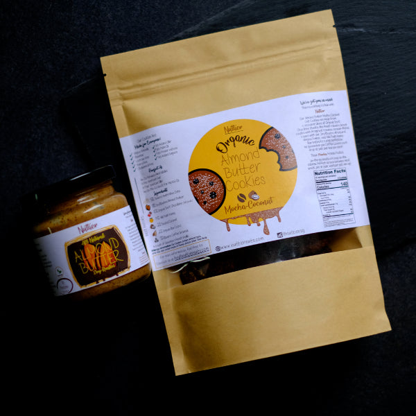 Nuttier Coffee Lovers Bundle - All Natural French Vanilla Almond Butter and Organic Mocha Coconut Almond Butter Cookies