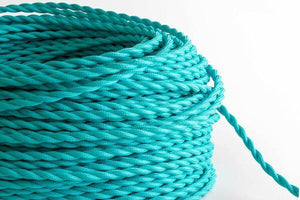 Turquoise Twisted Fabric Cord by the Foot Hangout Lighting