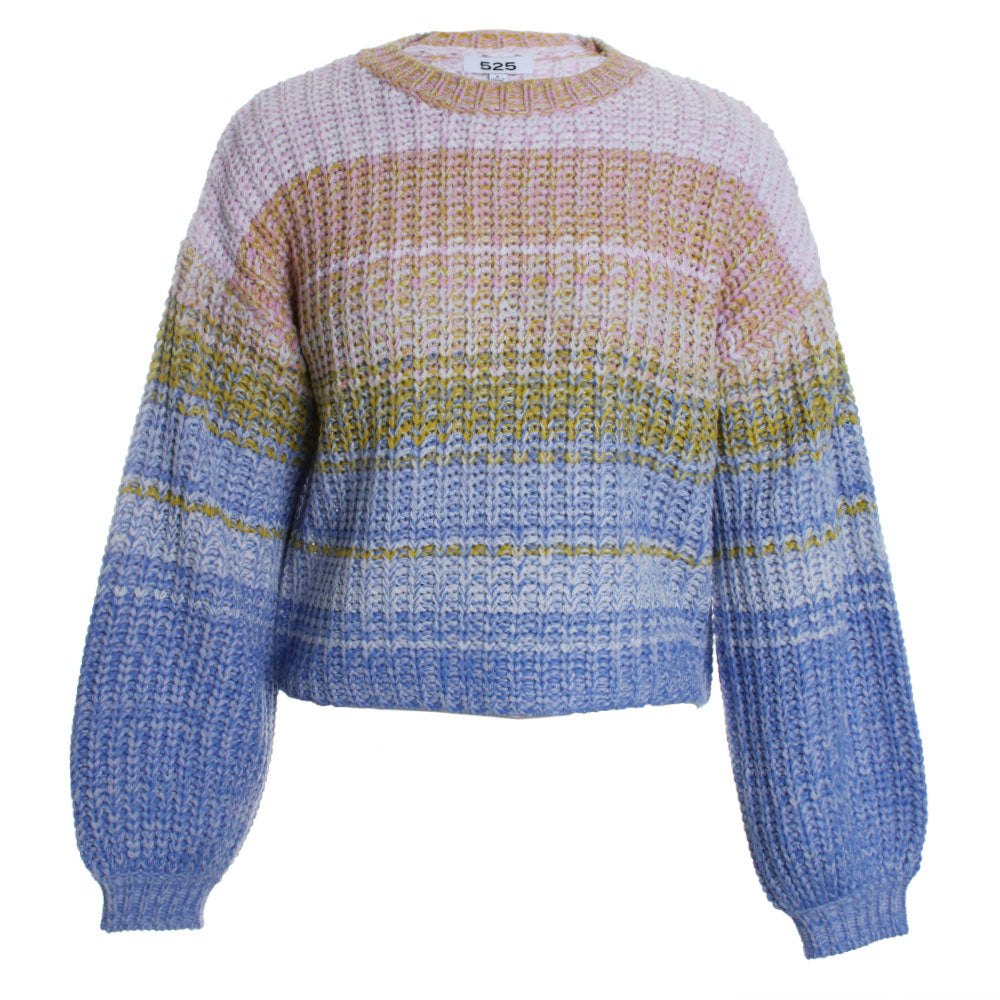 Mixed Material Pullover Knit Sweater