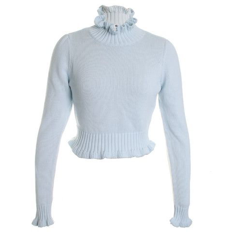 Ruffled Mock Turtle Neck Sweater