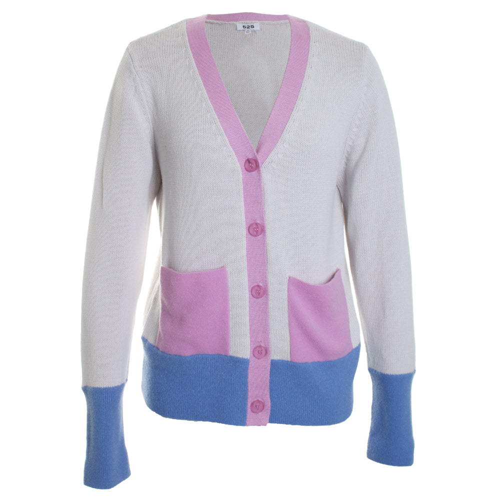 Yarn Colorblock Cardigan Knit Sweater