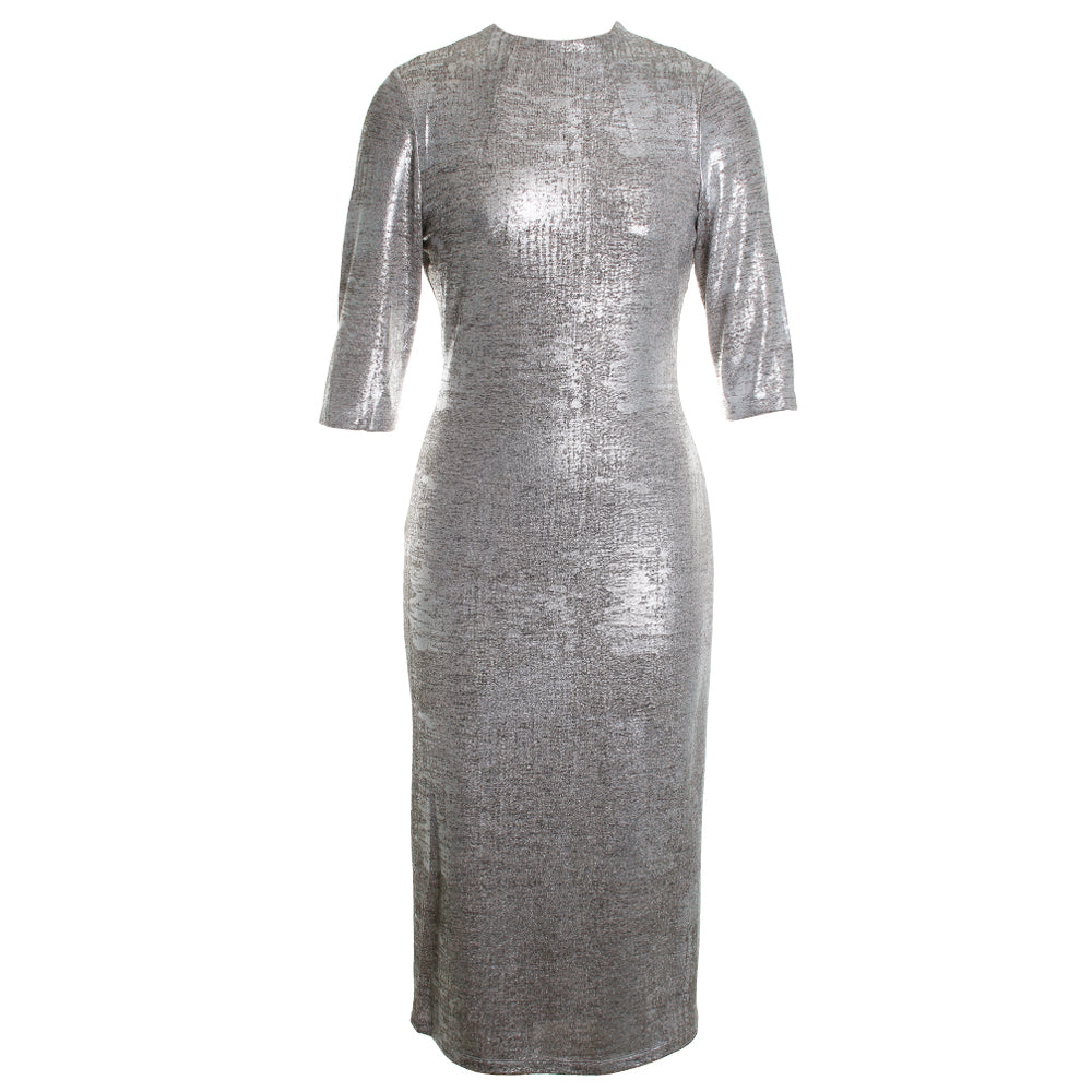 Delora Metallic Mock Fitted Midi Dress