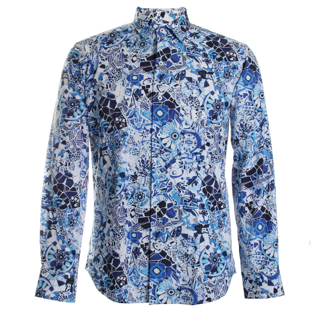 Abstract Print Dress Shirt