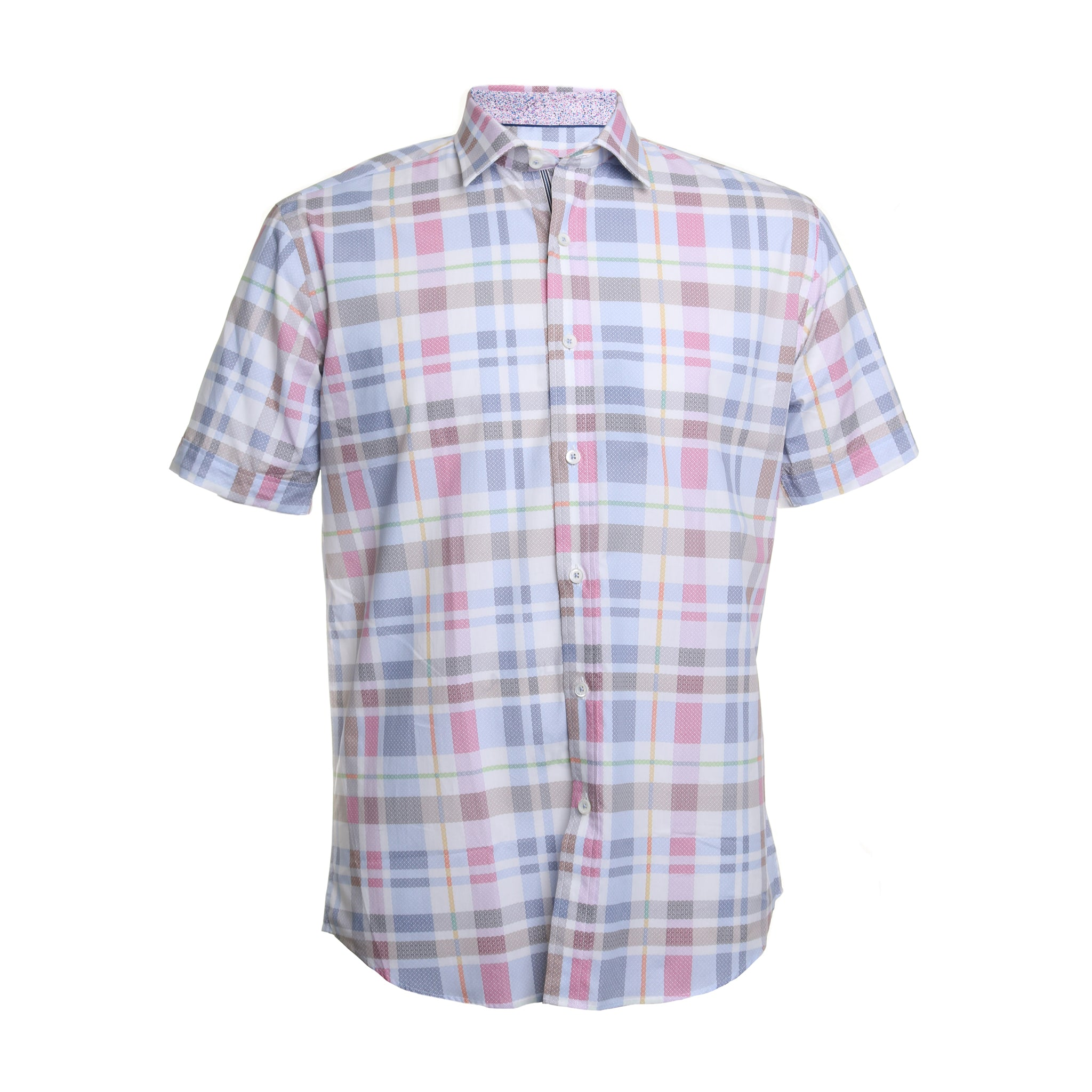 Pointed Collar Cotton Plaid Shirt