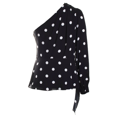 Kristy Dotted Asymmetrical Blouse
