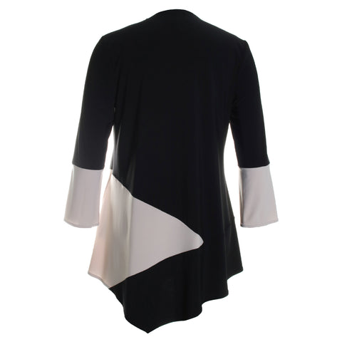Colorblock Zipper Blouse Top