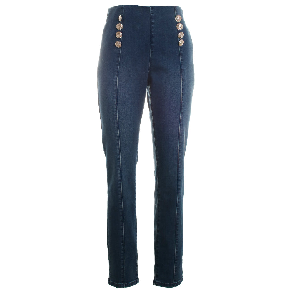 Gold Button Trim Skinny Jeans