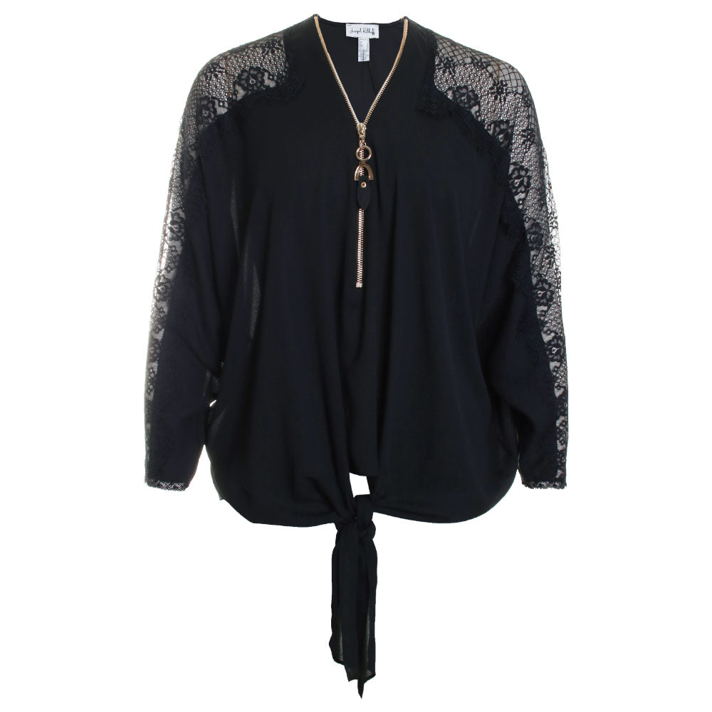 Lace Tie Front Zip Detail Blouse