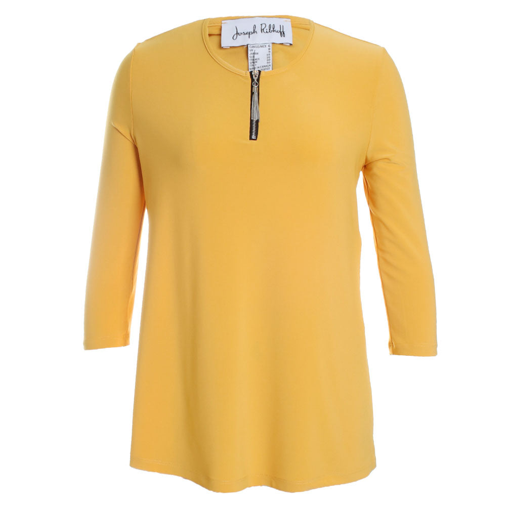 Zip Neck 3/4 Sleeve Top