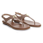 Plate Leather T-Strap Thong Sandals