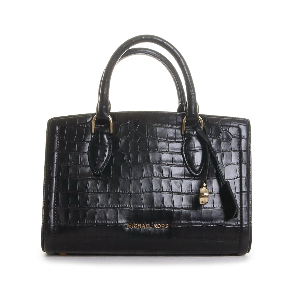 Zoe Crocodile Embossed Leather Satchel