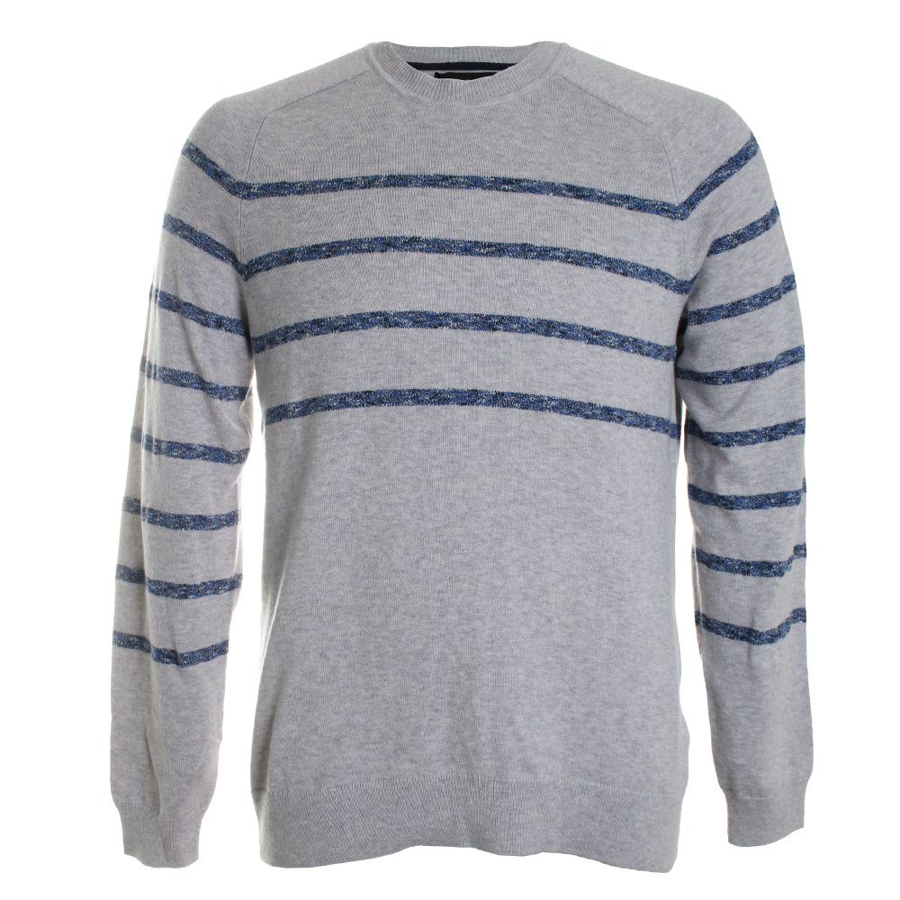 Saddle Striped Long Sleeve Crew Neck Sweater