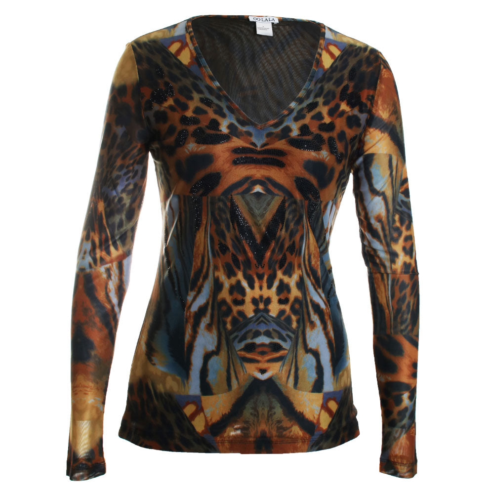 Abstract Animal Print Mesh Blouse Top