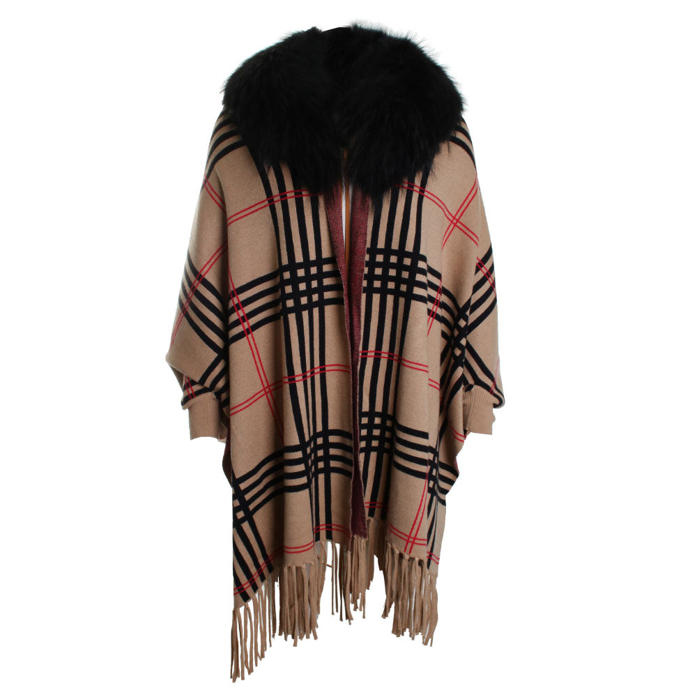 Fox Trim Plaid Wrap