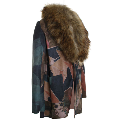 Faux Fur Trim Printed Jacket