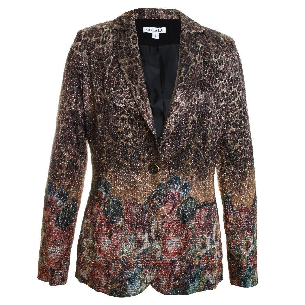 Lurex Floral Animal Blazer Jacket