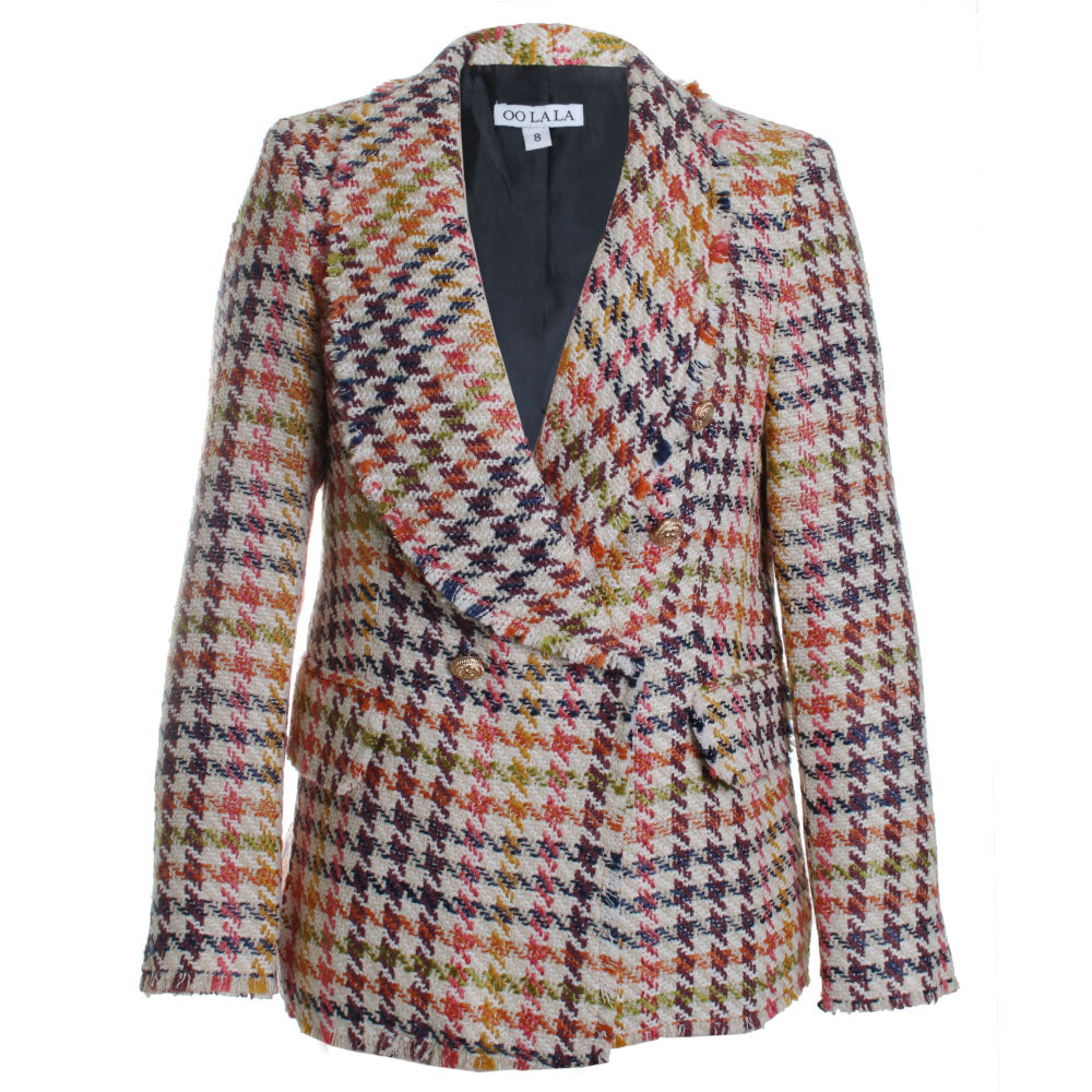 Classic Tweed Houndstooth Blazer