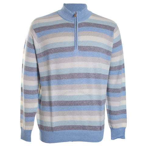 Williams Wool Linen Stripe Quarter Zip Sweater