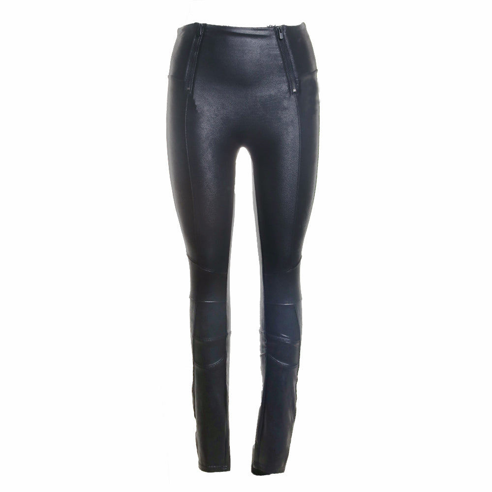Hip Zip Faux Leather Leggings