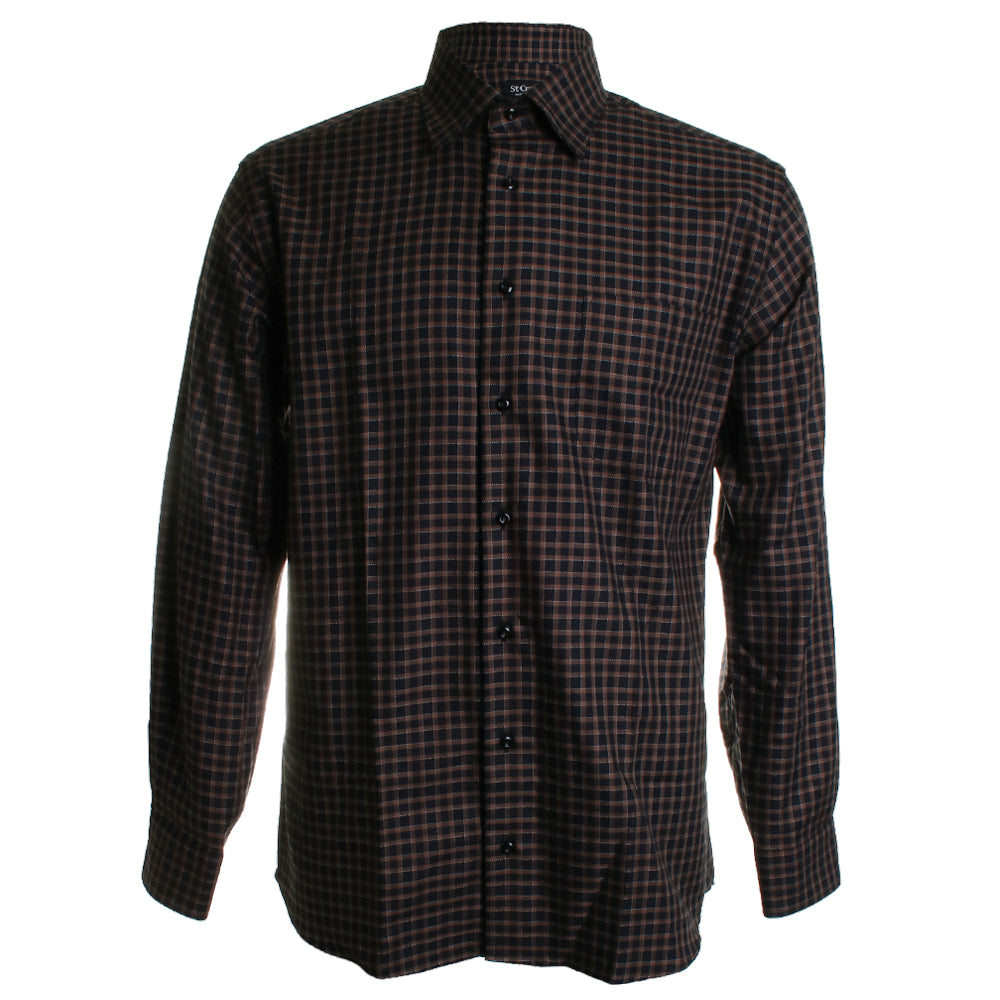 Herringbone Check Plaid Dress Shirt