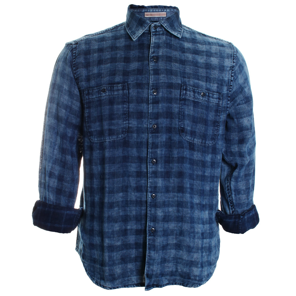India Indigo Plaid Button Down Shirt