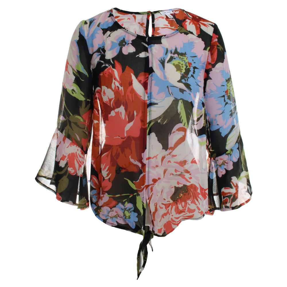 Floral Bell Sleeve Blouse Top