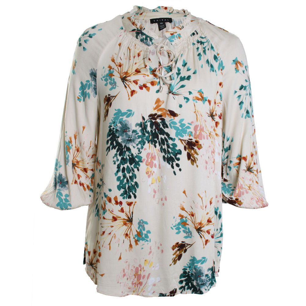 Balloon Sleeve Floral Blouse Top