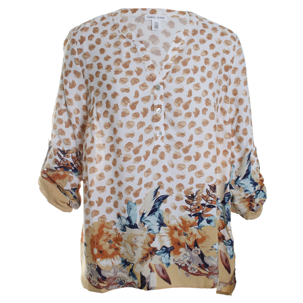Roll Up Crepe Blouse