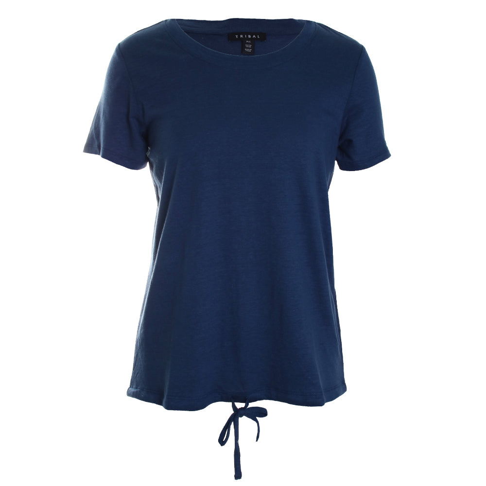 Short Sleeve Crew Neck Drawstring Top
