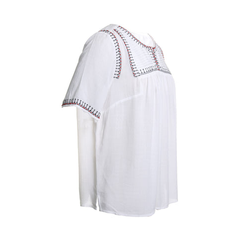 Elbow Sleeve Embroidered Blouse